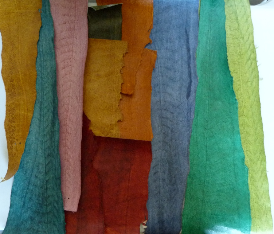 penderie : recension de mon matériel de reliure, peau de julienne