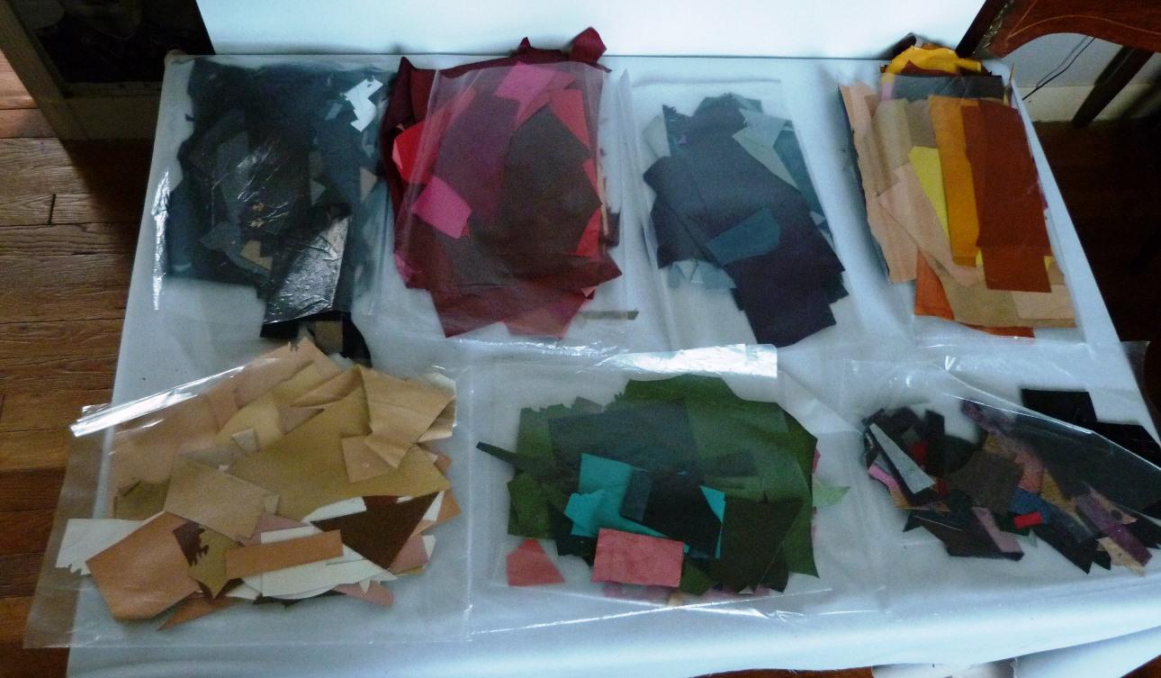 penderie : recension de mon matériel de reliure, peau sciée