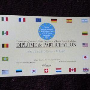 Concours 2017 de la biennale de reliure de la vallée de Chevreuse : le diplôme