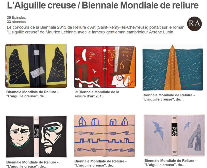 """Tableaux Pinterest : reliures """"L'Aiguille creuse"""" de M. Leblanc"""