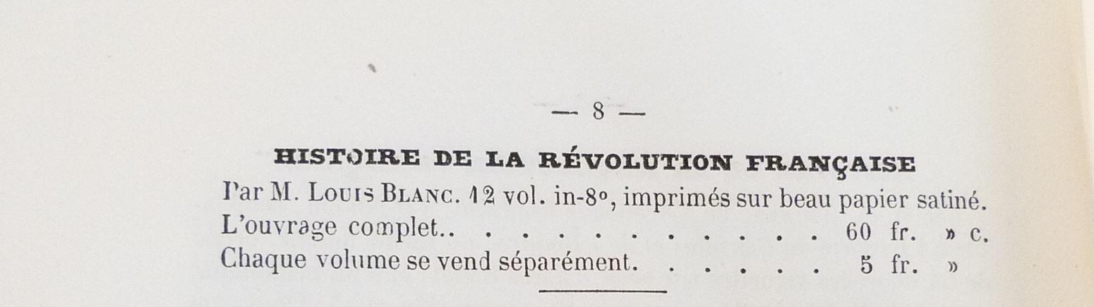 Histoire de la révolution française : tarif.