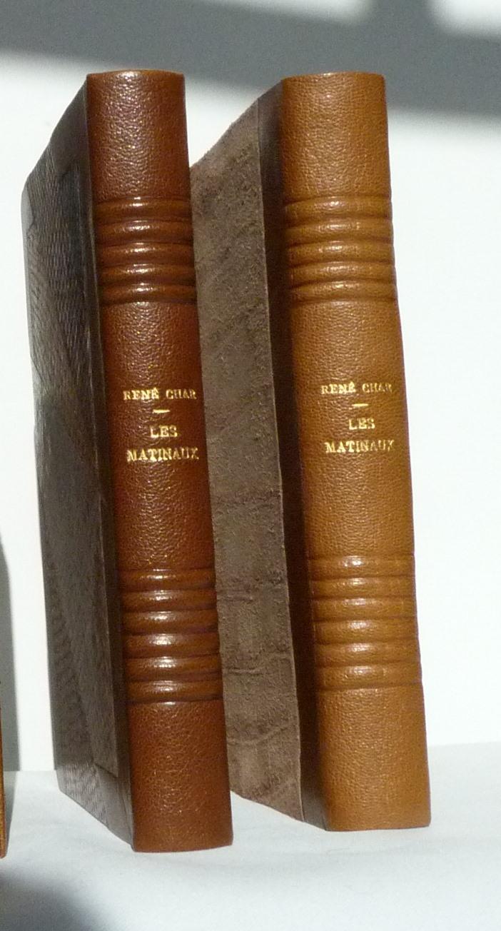 Les Matinaux de rené Char: dos du livre et de la chemise.