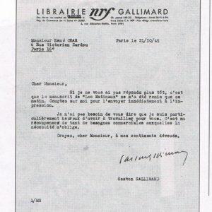 Les matinaux, lettre de Gallimard.