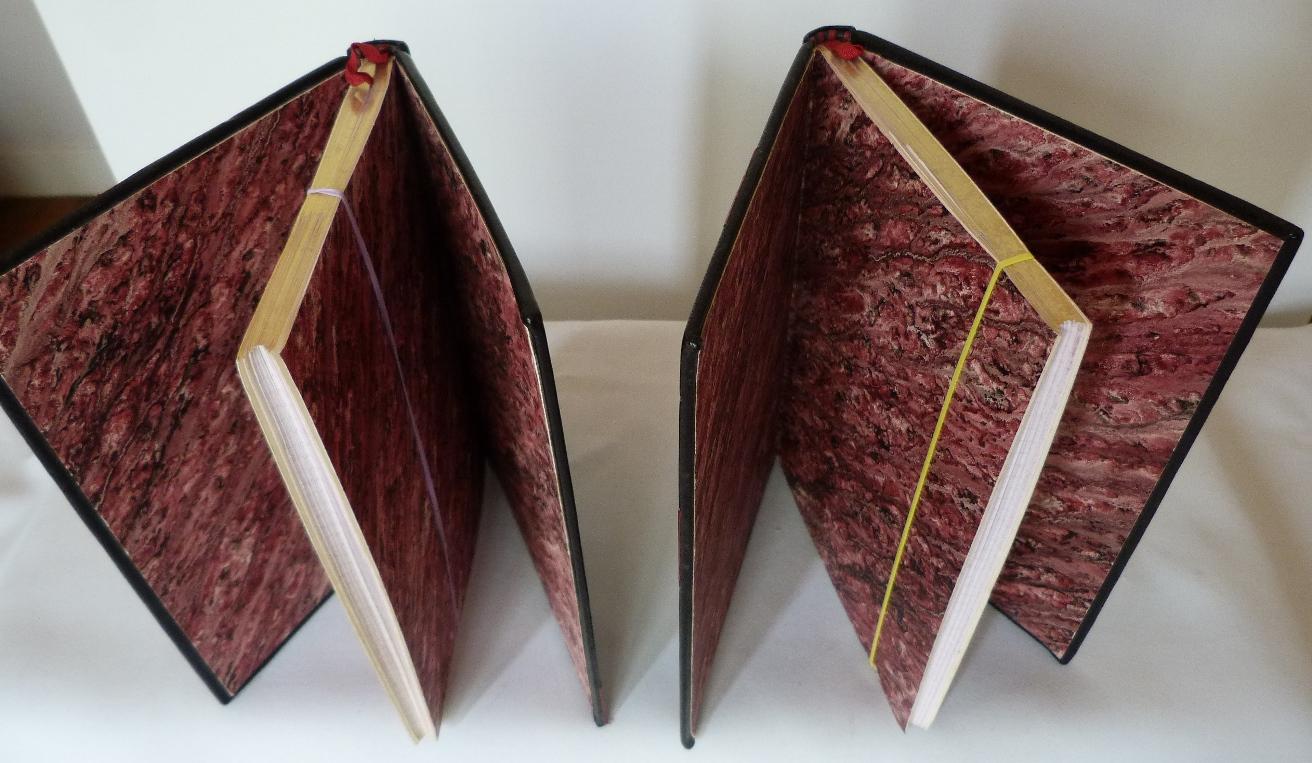 Carnets de notes (2001-2002), gardes en papier marbré fait main. (coulée romantique)