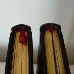 Carnets de notes (2001-2002), tranchefile bicolore rouge-noir en cuir.