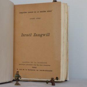Israël zangwill, cahier de la quinzaine, la une de couverture.