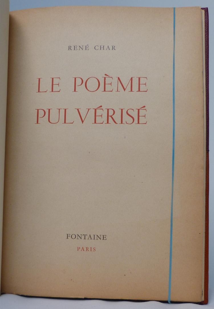 Le poème pulvérisé 1 de rené Char, une de couverture.