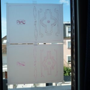 Carnets de notes (1996-1997), inspiration Ndébélé : calques.