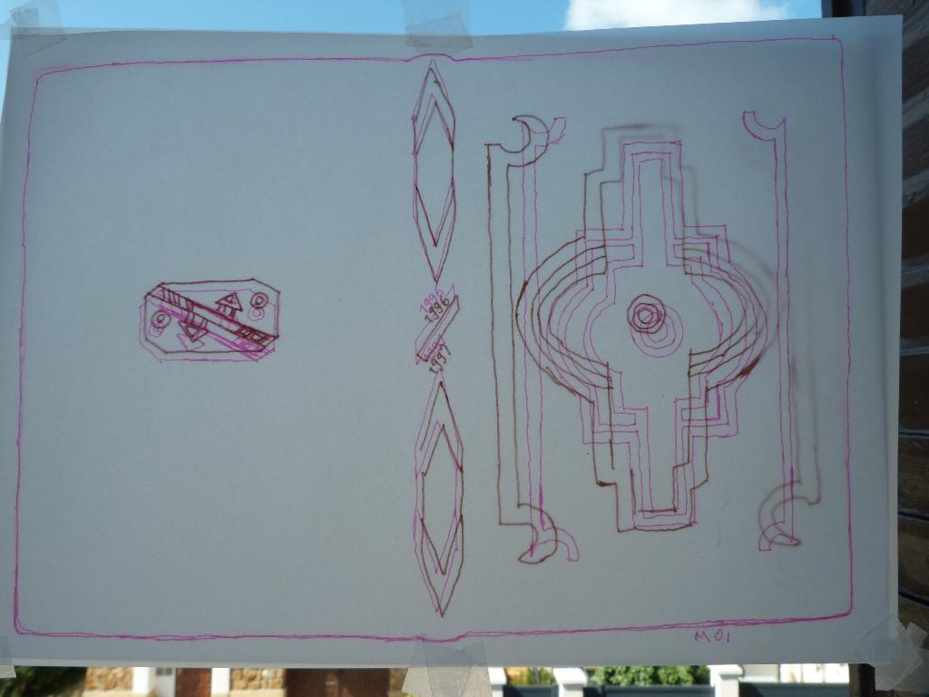 Carnets de notes (1996-1997), inspiration Ndébélé : superposition des calques.