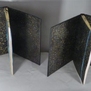 Carnets de notes (2004-2005), gardes en papier marbré fait main.