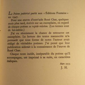 POème et arrière hisstoire du poème pulvérisé, explication de Jean Hugues.