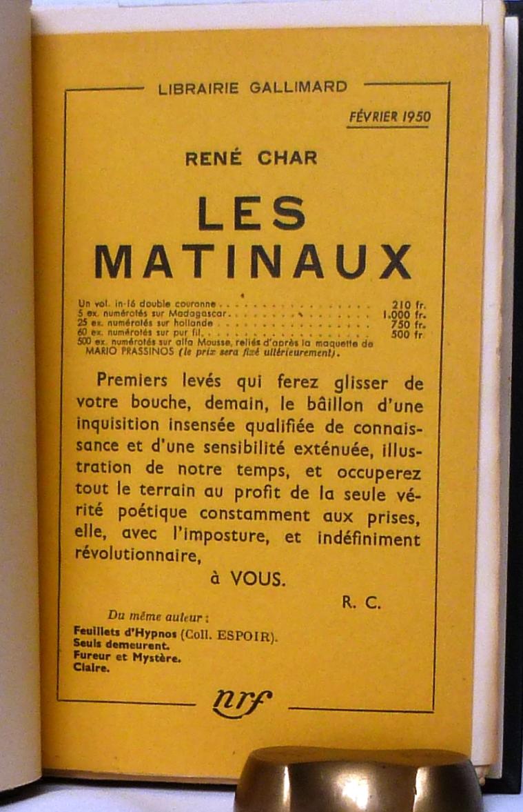 Les Matinaux 2, placard publicitaire.