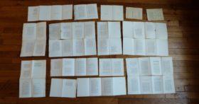 Cahier de la Quinzaine, in-12 ou in-18, enquète, ensemble des feuilles du livre.
