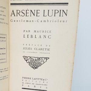 Arsene lupin Gentleman-cambrioleur, demi-cuir à coins avec mosaïque, titre du livre
