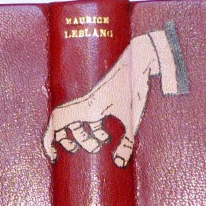 Arsene lupin Gentleman-cambrioleur, demi-cuir à coins avec mosaïque, détail de la reliure.