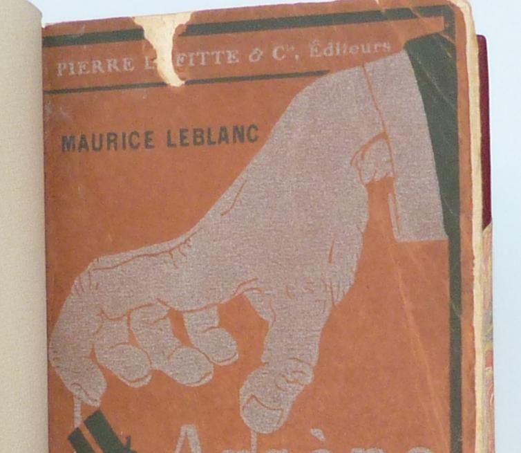 Arsene lupin Gentleman-cambrioleur, demi-cuir à coins avec mosaïque, détail de la couverture