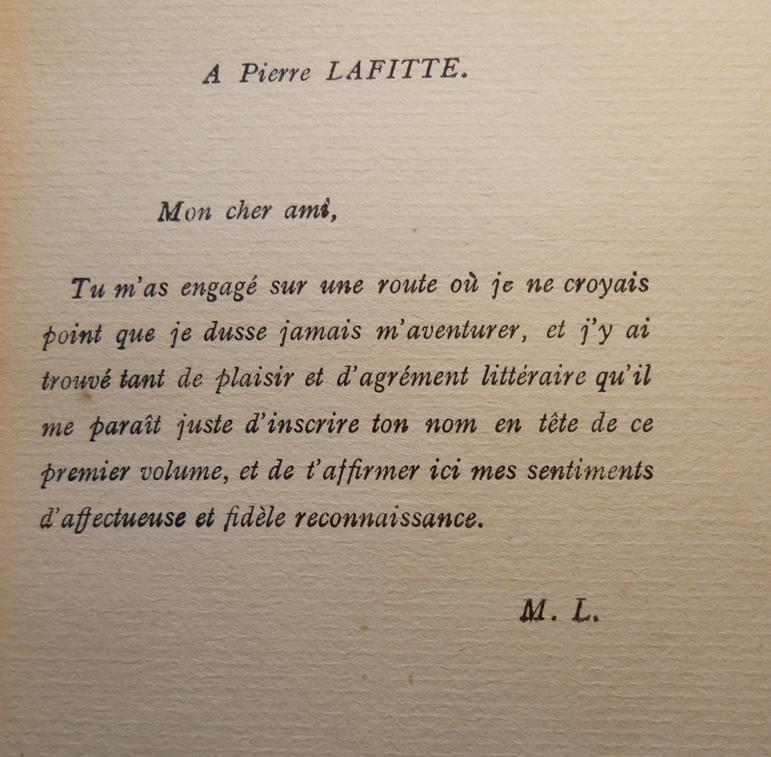 Arsene lupin Gentleman-cambrioleur, demi-cuir à coins avec mosaïque, envoi de l'auteur à l'éditeur.