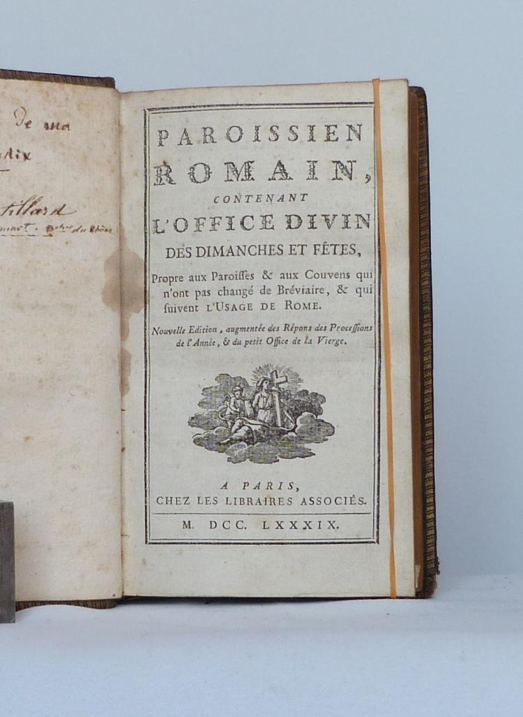 Paroissien Romain de 1789, une de couverture.
