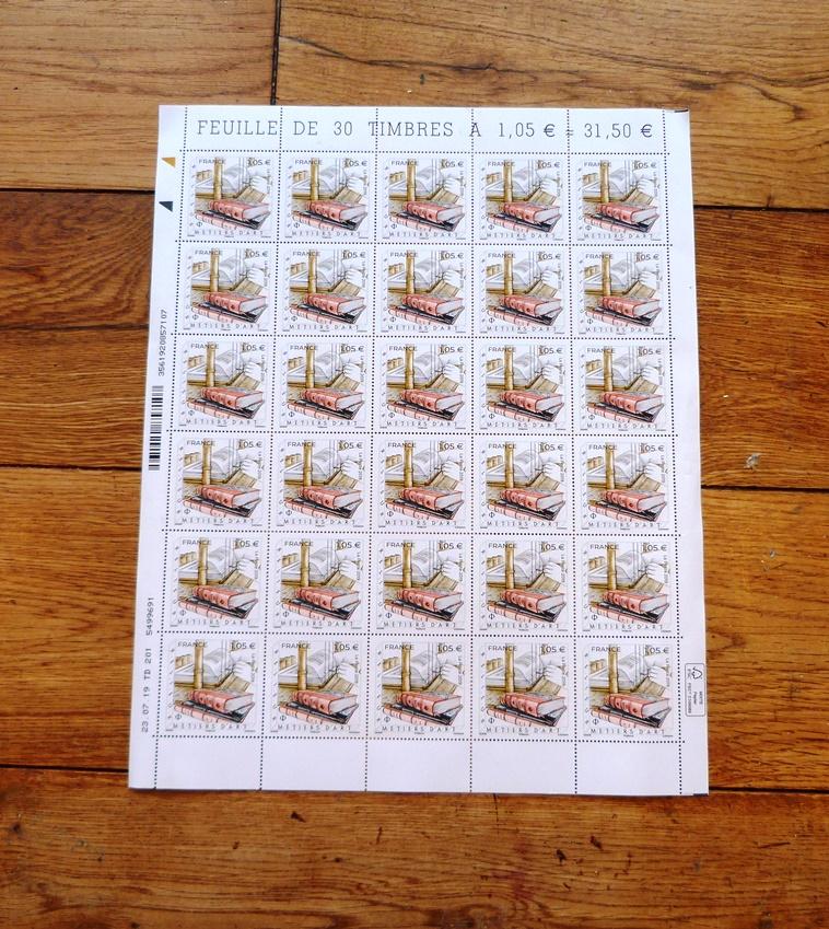 """Timbre """"Métier d'art : Relieur"""", le timbre."""