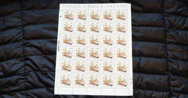 """Timbre """"Métier d'art : Relieur"""", feuille de 30 timbres."""