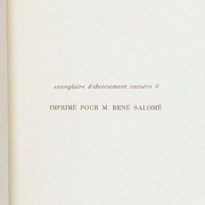Imprimé pour René Salomé.