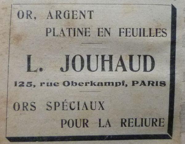 Encarts publicitaires 1927, dernière.