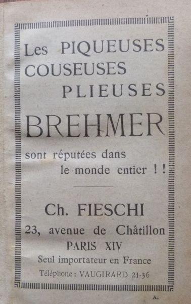 Encarts publicitaires 1927, exemple