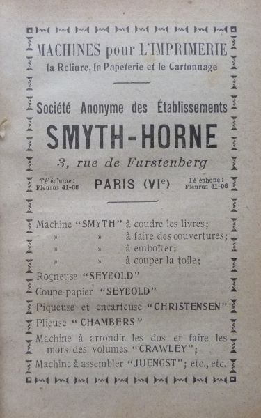 Encarts publicitaires 1927, exemple.