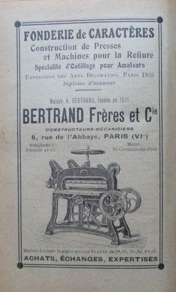 Encarts publicitaires 1927 (3), Fonderie de Caractères Bertrand Frères et Cie.