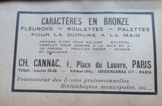 Encarts publicitaires 1927 (3), caractères en bronze Ch. Cannac.
