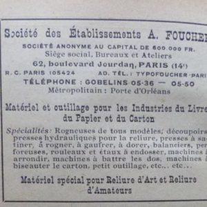 Encarts publicitaires 1927 (3), Société des etablissements A. Foucher, matériel pour reliure d'art.