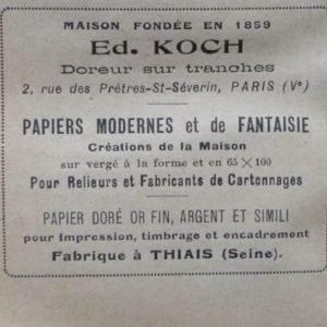 Encarts publicitaires 1927 (3), Ed. Koch.