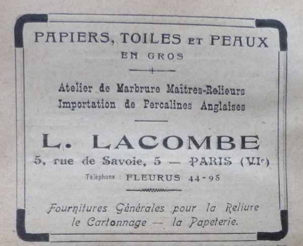 L. Lacombe, papiers, toiles et peaux.