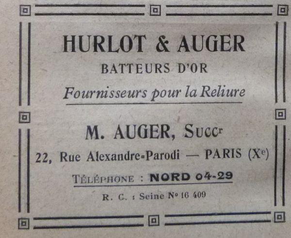 Encarts publicitaires 1927 (4), hurlot & Auger batteur d'or.