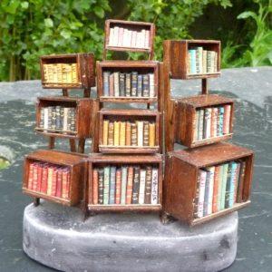 Mini-bibliothèque à caissons.