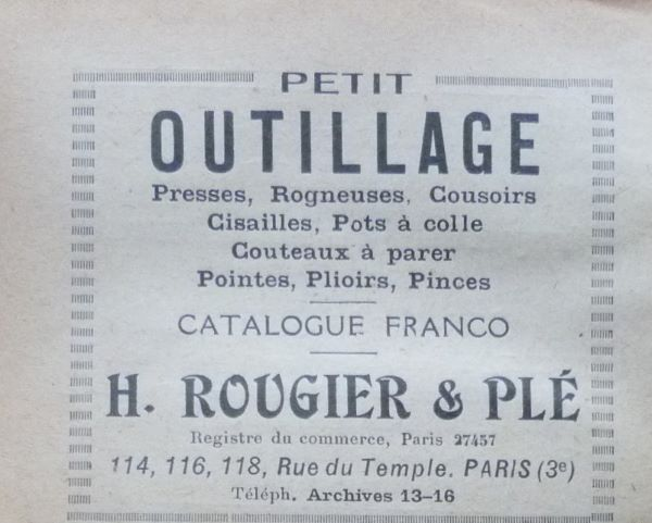 Encarts publicitaires 1927 (5), H.Rougier & Plé.