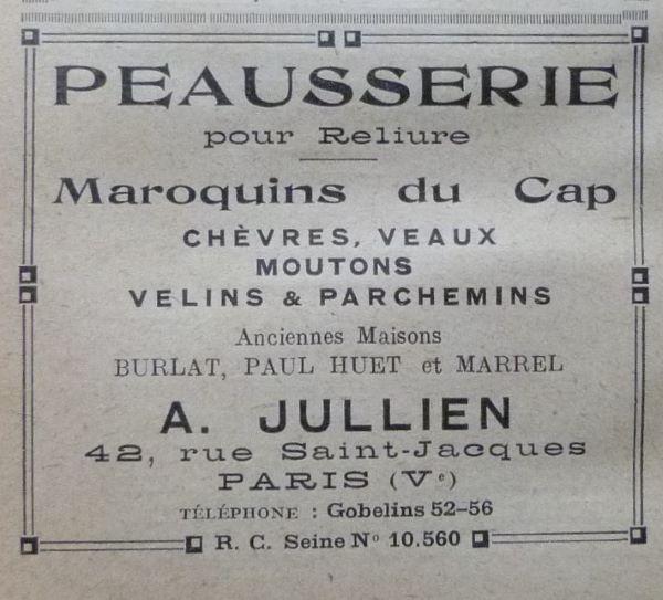 Peausserie pour reliure A.Jullien.