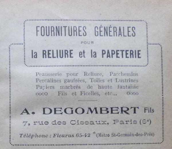 A.Degombert Fils, fourniture générale pour la reliure et la papeterie.
