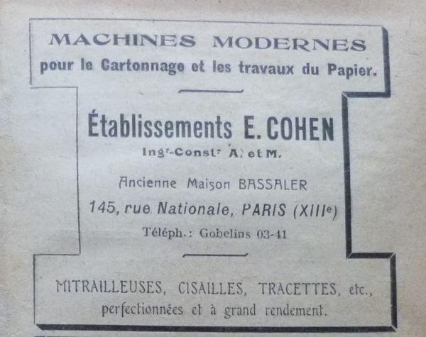 Machines modernes pour le cartonnage et les travaux du papier, Etablissements E.Cohen