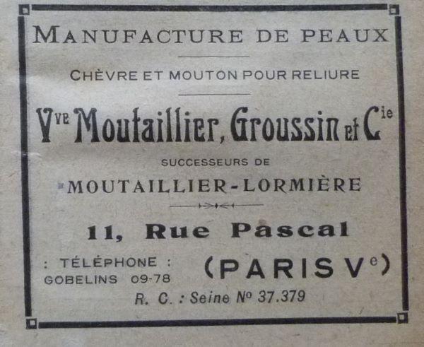 Encarts publicitaires 1926, Manufacture de peausserie Moutailler, Groussin.
