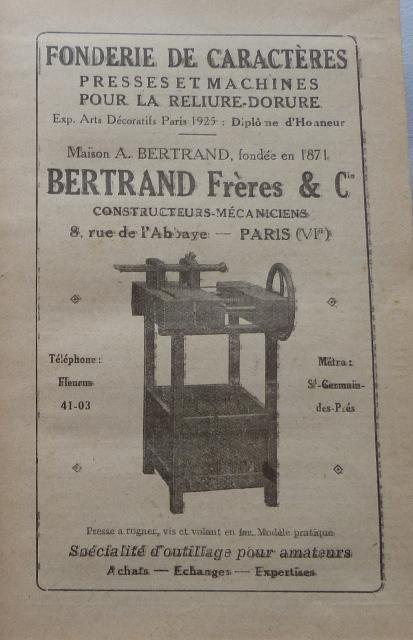 Encarts publicitaires 1926, Bertrand Frères & Cie.,