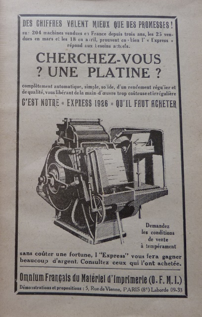 Encarts publicitaires 1926, Omnium Français du Matériel d'Imprimerie.