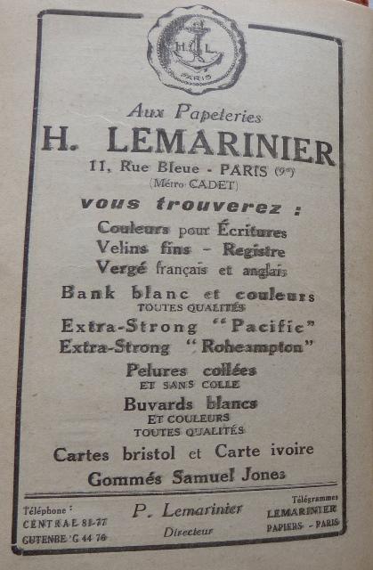 Encarts publicitaires 1926, Papeteries H. Lemarinier.