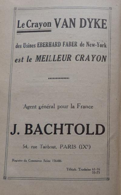 Encarts publicitaires 1926, Le Crayon Van Dyke, Agent général pour la France J. Bachtold.,