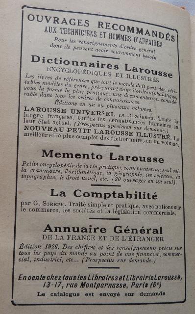 Encarts publicitaires 1926 (fin)