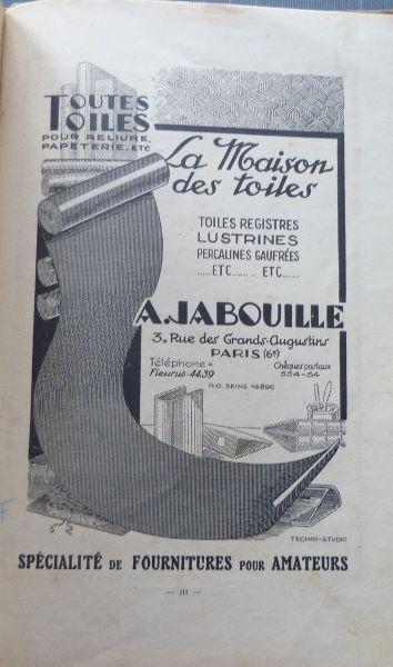 Reliures 1926 actualisées 1943 (1), A.Jabouille.